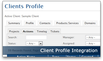 Client Profile Integration | wbTeamPro Project Management for WHMCS